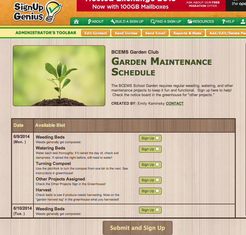 Garden maintenance schedule sign up bcems garden club for Yearly garden maintenance schedule
